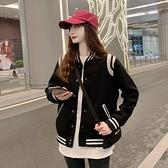 棒球外套 黑色外套女秋季冬百搭2021新款韓版寬鬆夾棉加厚炸街棒球服ins潮 伊蘿