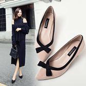 女鞋新款韓版百搭尖頭淺口蝴蝶結高跟鞋細跟中跟工作單鞋 享購