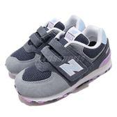 New Balance 慢跑鞋 574 NB 灰 藍 魔鬼氈 運動鞋 休閒鞋 童鞋 小童鞋【PUMP306】 IV574UJAW
