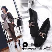 豆豆鞋/方頭單鞋女一腳蹬平底懶人「歐洲站」