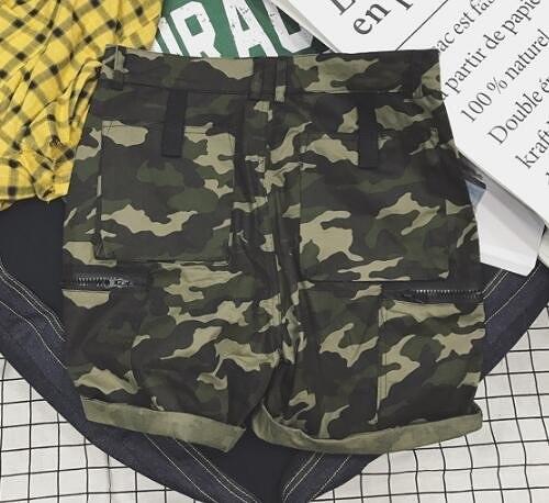 日系時尚街頭複古工裝迷彩五分休閒短褲 海灘短褲