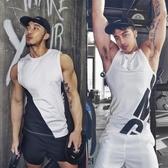 正韓春夏季新款字母緊身健身跑步運動背心男速干無袖運動T恤