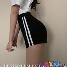 運動短褲 黑色短褲女運動褲春季新款顯瘦闊腿褲薄款高腰緊身熱褲休閒褲子潮 寶貝計畫 618狂歡