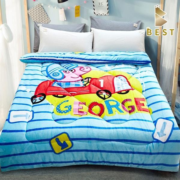 【Best寢飾】雙面激厚法蘭絨暖暖被 賽車喬治 台灣製 毛毯 毯被 毯子 被子 棉被