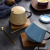 馬克杯 ins北歐咖啡杯創意早餐杯子陶瓷帶蓋勺辦公室情侶水杯馬克杯茶杯 樂芙美鞋