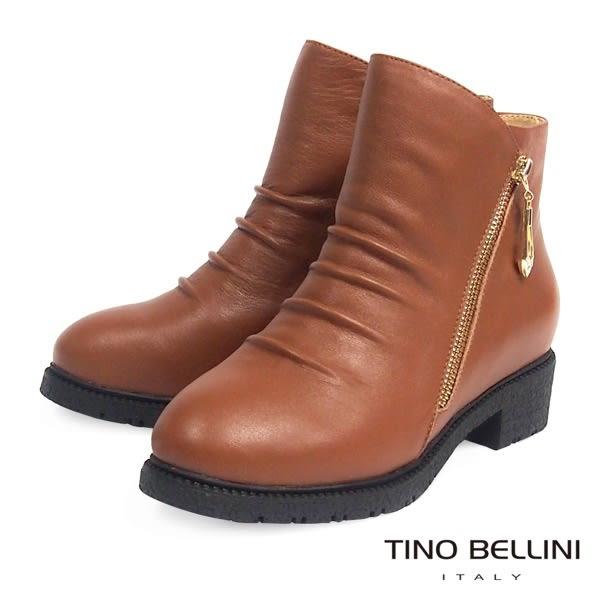 Tino Bellini全真皮抓皺側V切口拉鍊低跟短靴(棕)_CL2219 2015AW
