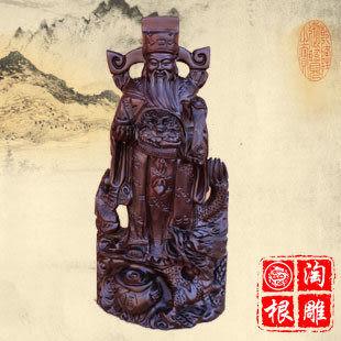 黑檀木雕 手持如意五路財神爺神像