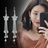 花朵珍珠耳環氣質韓國簡約個性飾品耳釘女長款水晶耳墜防過敏百搭