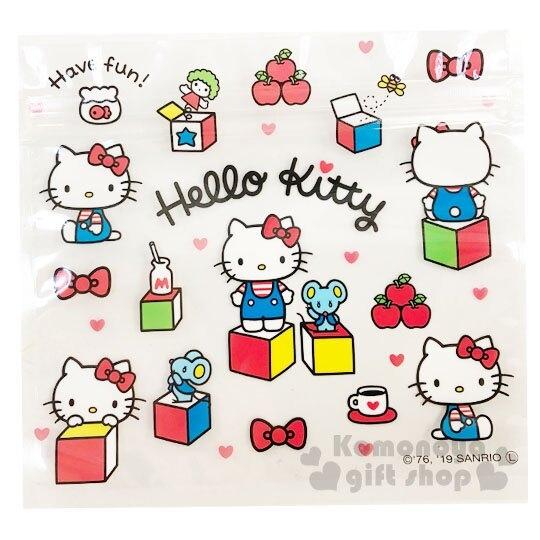 〔小禮堂〕Hello Kitty 方形透明夾鏈袋組《M.4入.白》分類袋.糖果袋.銅板小物 4904555-05539