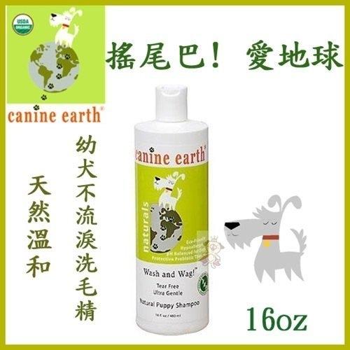 『寵喵樂旗艦店』Canine earth搖尾巴! 愛地球《溫和幼犬不流淚洗毛精》16oz