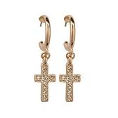 耳環 玫瑰金 925純銀鑲鑽-潮流十字架生日情人節禮物女飾品73gs57【時尚巴黎】