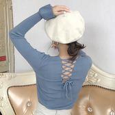 EASON SHOP(GU9083)實拍小心機後背交叉綁帶露背短版坑條紋V領小喇叭袖長袖針織衫女上衣服彈力貼身
