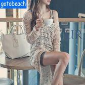 度假新款比基尼罩衫泳衣外套沙灘裙鏤空防曬衣鉤花針織長裙女罩衣 卡布其诺