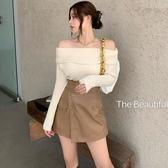 特價限購 韓版小眾氣質溫柔風針織毛衣秋季新款一字肩性感顯瘦上衣女