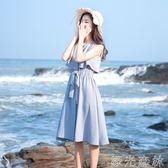 洋裝 無袖復古雪紡洋裝女蝴蝶結中長款假兩件顯瘦裙子背心裙 綠光森林