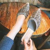高跟鞋  包頭懶人半拖鞋女夏2018新款時尚百搭外穿無后跟網紅穆勒鞋尖頭女-大小姐韓風館