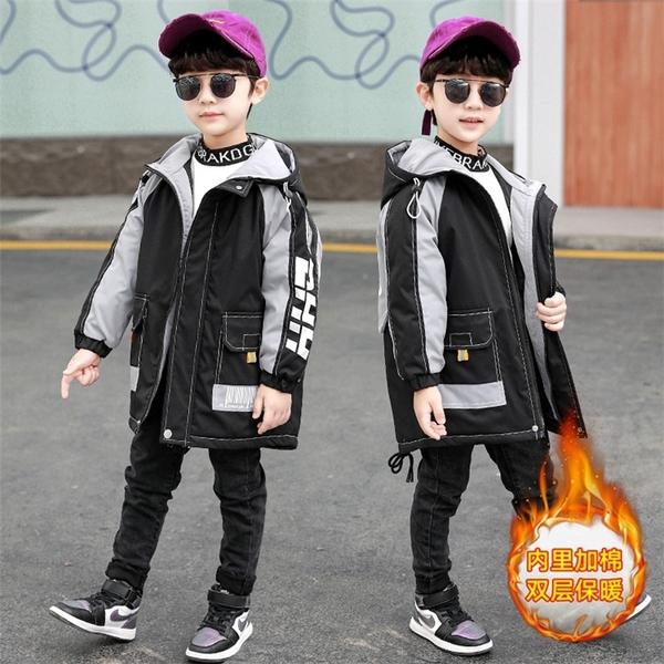 兒童加絨潮流夾克外套 羽絨外套男孩7Plus 工裝秋冬男寶寶棉衣 中大童韓版外套羽絨服