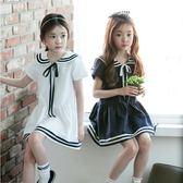 韓版童裝女童海軍學院風短袖連身裙兒童水手服裙子大童夏洋裝 GD265『科炫3C』