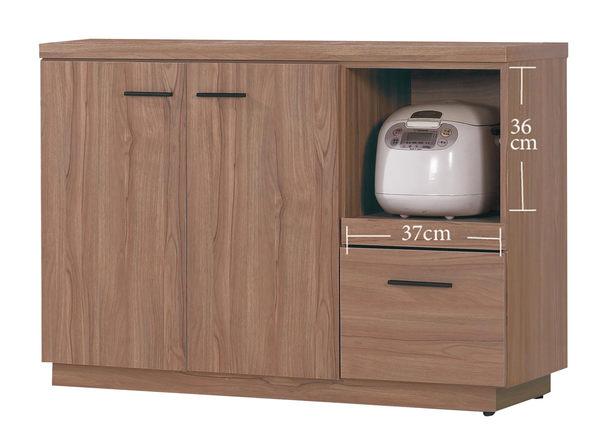 【森可家居】比堤4尺柚木色餐櫃下座 7JX213-4 廚房收納櫃 中島 碗盤碟櫃 木紋質感 無印北歐風