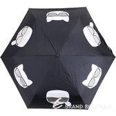KARL LAGERFELD K/IKONIK 老佛爺貓咪印花自動摺疊傘(黑色) 1840568-01