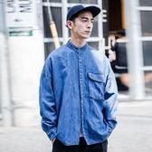 【全館八九折】日系潮服寬鬆版立領大口袋牛仔襯衫男款做舊襯衣街頭嘻哈