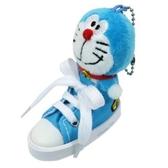 〔小禮堂〕哆啦A夢 帆布鞋造型絨毛玩偶娃娃吊飾《藍白》掛飾.鑰匙圈.鎖圈 4548643-14049