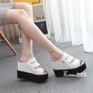 厚底楔形-夏新款厚底厚底楔形套腳涼鞋超高跟露趾魚嘴涼拖鞋防滑內增高女拖