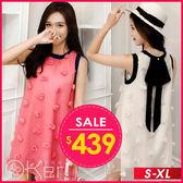 少女心立體花朵無袖仙女洋裝 S-XL O-ker 歐珂兒 160220