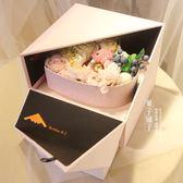 情人節創意個性高檔正方形雙層禮物盒心形禮品盒鮮花包裝盒 概念3C旗艦店