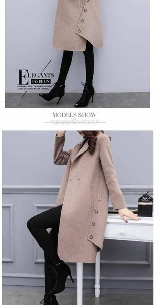 韓版外套大衣開衫M-3XL寬鬆中長款不規則毛呢外套女呢子大衣H455-7029.胖胖唯依