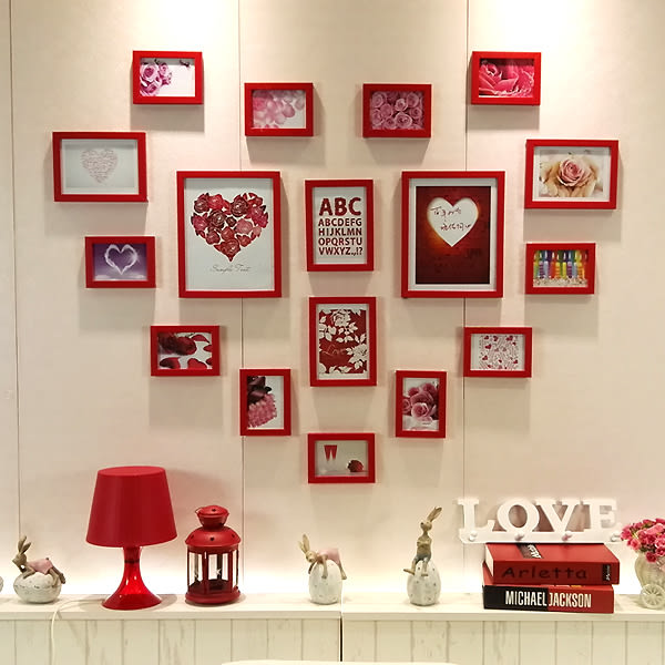 婚房心形照片牆裝飾牆貼相片相框牆掛牆愛心創意組合臥室客廳餐廳 英雄聯盟igo