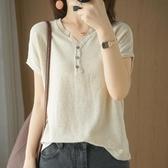 針織衫 夏季新款棉麻V領針織短袖女純棉T恤上衣韓版寬鬆顯瘦百搭打底衫薄-Ballet朵朵