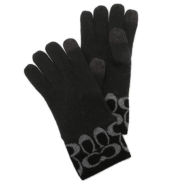米非客 COACH 86026 經典 C logo設計 手指可觸碰螢幕 混羊毛材質 超保暖 手套(黑灰)