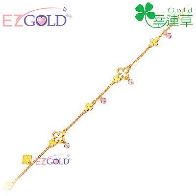 幸運草金飾-幸福花海-黃金手鍊