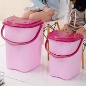 泡腳桶家用泡腳桶塑料加大加高按摩洗髮桶泡腳木桶帶蓋保溫足浴盆洗髮盆XW(一件免運)