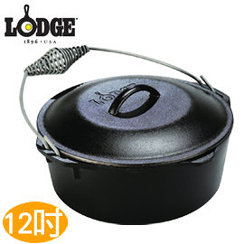 丹大戶外用品【LODGE】L10DO3 7QT Dutch Oven 12吋荷蘭鍋 鑄鐵材質/會釋放鐵離子使食材更好吃