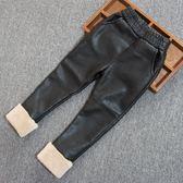 童褲 女童皮褲加絨冬裝新款潮寶寶加厚褲子兒童pu皮洋氣打底褲外穿