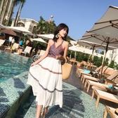 洋裝海邊度假沙灘裙潮牌沙漠長裙民族風旅游復古洋裝【快速出貨】