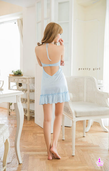 睡衣 性感睡衣 夢幻水藍綁脖美背柔緞性感睡衣 星光密碼C093