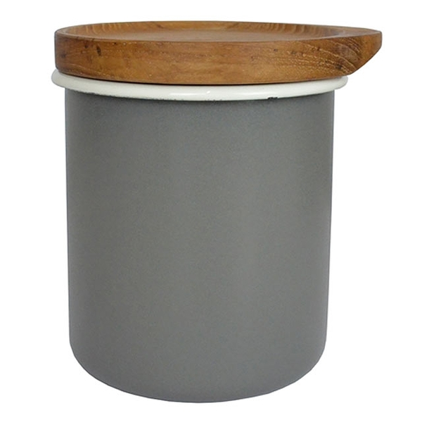 日本CB Japan 都會系列琺瑯原木置物罐-時尚灰