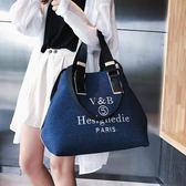 購物包 大容量包包手提包歐美時尚潮牛仔單肩包字母帆布百搭女包【美物居家館】