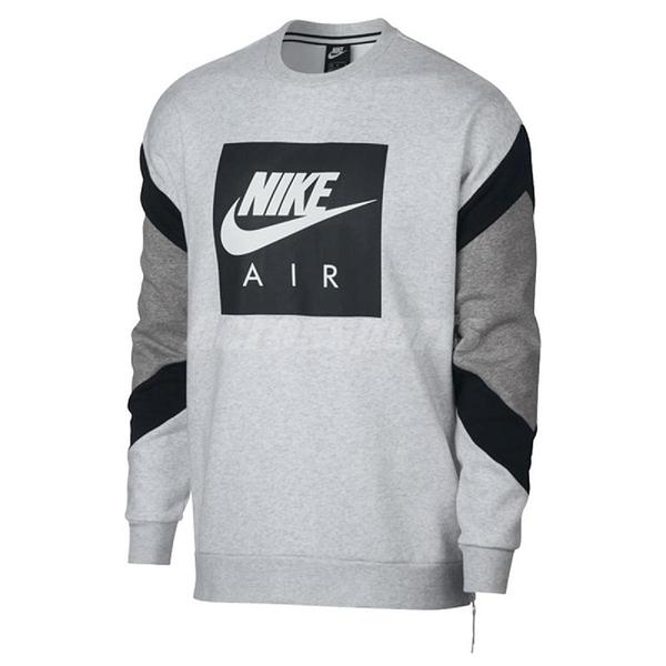 Nike 長T Nsw Air Crew Flc 男款 大學服 大學T 長袖 上衣 復古款 灰 【PUMP306】 928636-051