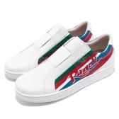 Royal Elastics 休閒鞋 Bishop Color Line 白 紅 塗鴉 皮革鞋面 無鞋帶設計 橡膠大底 男鞋【PUMP306】 01791015