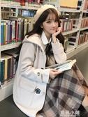 秋冬女裝日系寬鬆中長款小清新呢子大衣新款學生連帽毛呢外套女生 美芭