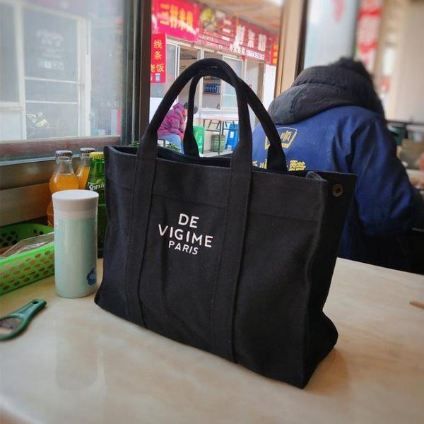 韓版便當包飯盒袋女手提拎包帆布英文大容量餐包購物包學生帶飯袋 生活樂事館
