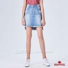 BRAPPERS 女款 新美腳ROYAL系列-前短後長不收邊膝上裙-藍