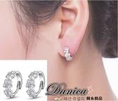 耳環 現貨 熱賣專櫃CZ鑽氣質甜美閃亮花朵連線 小款 易扣 鋯石耳環 S92470 Danica 韓系飾品