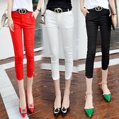 七分褲女夏季小腳休閒褲黑色顯瘦7分褲女鉛筆褲薄款八分西裝中褲 快速出貨