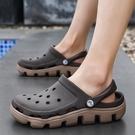 夏季男士涼鞋男室外穿洞洞鞋潮流韓版個性沙灘鞋男情侶厚底涼拖鞋 依凡卡時尚