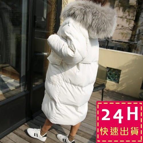 梨卡★現貨 - 正韓國空運鋪棉加厚超大毛領超長版仿羽絨寬鬆防風大衣外套A338
